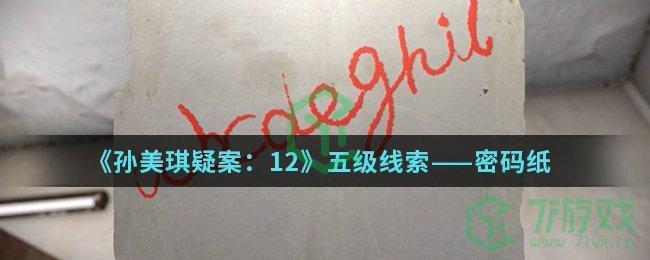 《孙美琪疑案:12》五级线索——密码纸
